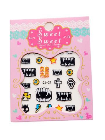 Shein Vampire Tooth Pattern Nail Sticker
