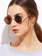 Shein Gold Frame Brown Round Lens Sunglasses