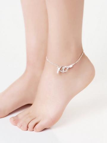 Shein Rhinestone Heart Detail Chain Anklet