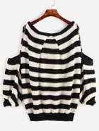 Shein Black And White Striped Cold Shoulder Lantern Sleeve Sweater