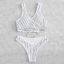 Shein Striped Wrap Bikini Set