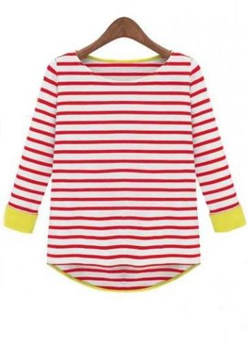 Rosewe All Matched Three Quarter Sleeve Striped Cotton Tees
