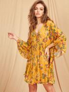 Shein Lace Up Plunge Neck Kimono Sleeve Botanical Smock Dress