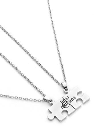 Shein Geometric Puzzle Friendship Pendant Necklace 2pcs