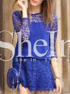 Shein Blue Crew Neck Hollow Out Dress