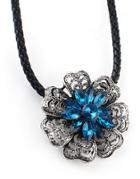 Shein Blue Gemstone Flower Necklace
