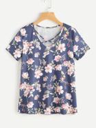 Shein Criss Cross V-neckline Florals Tee