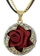 Shein Gold Diamond Rose Necklace