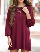 Shein Burgundy Long Sleeve Tshirt Dress