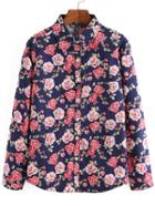 Shein Multicolor Long Sleeve Rose Print Blouse