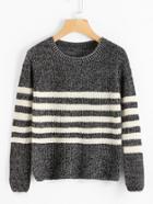 Shein Striped Textured Knit Sweater