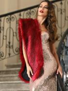 Shein Burgundy Faux Fur Stole