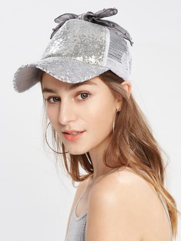 Shein Bow Detail Sequin Baseball Cap