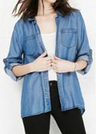Rosewe Pocket Embellished Long Sleeve Denim Shirt