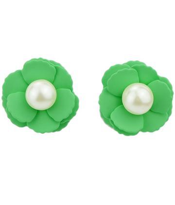 Shein Green Bead Flower Stud Earrings