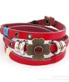 Shein Gold Flower Red Leather Bracelet