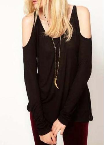 Rosewe High Street Fashion Long Sleeve Black Cutout Tees