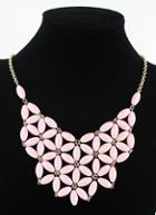 Shein Pink Flowers Collar Chain Necklace