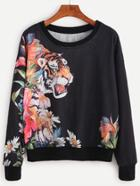 Shein Black Tiger Print Drop Shoulder Sweatshirt