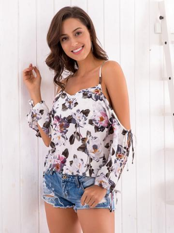 Shein Floral Print Knot-split Sleeve Blouse