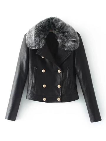 Shein Pu Jacket With Faux Fur
