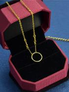 Shein Gold Simple Circle Pendant Necklace For Women