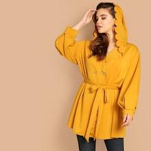 Shein Plus Scalloped Trim Double Breasted Hoodie Coat