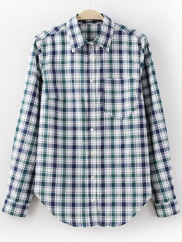 Shein Green Pocket Buttons Front Plaids Blouse