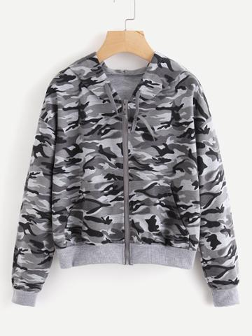 Shein Contrast Ribbed Trim Camo Hooded Jacket