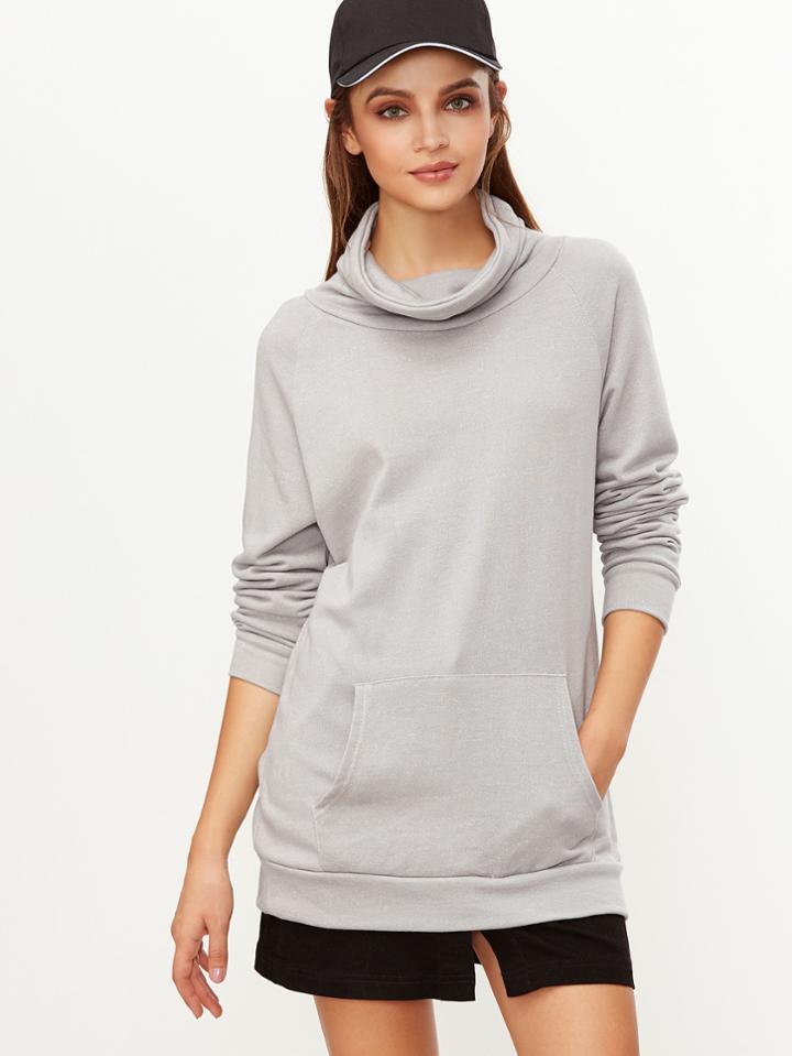 Shein Grey Cowl Neck Raglan Sleeve Pocket Sweatshirt