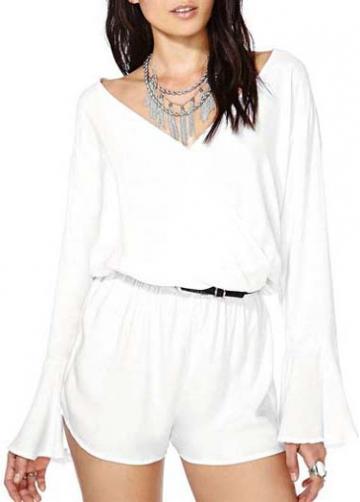 Rosewe Enchanting Long Sleeve V Neck White Mini Rompers