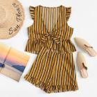 Shein Ruffle Trim Striped Top & Shorts Set