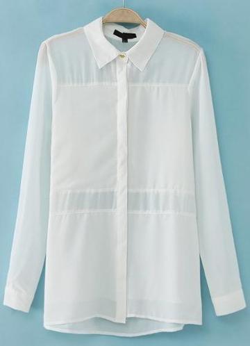 Shein White Lapel Long Sleeve Sheer Chiffon Blouse