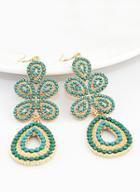 Shein Green Gemstone Gold Dangle Earrings
