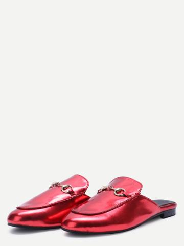 Shein Red Patent Leather Loafer Slippers