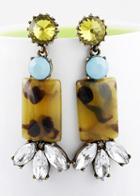Shein Yellow Gemstone Geometric Crystal Earrings
