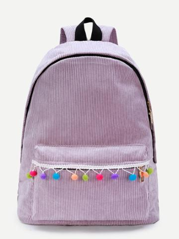 Shein Pom Pom Design Corduroy Backpack