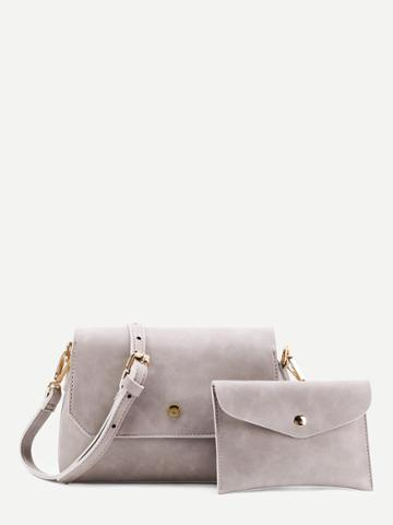 Shein Metal Detail Shoulder Bag With Clutch