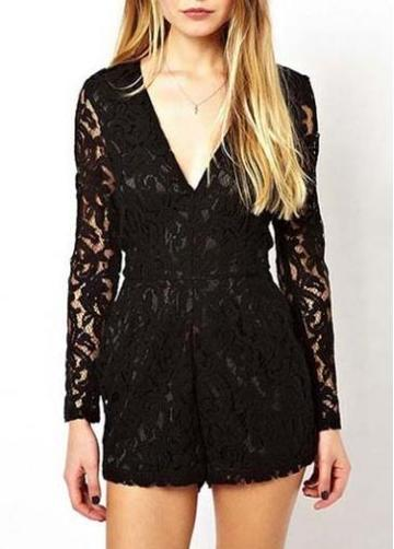 Rosewe Alluring Deep V Neck Long Sleeve Lace Rompers