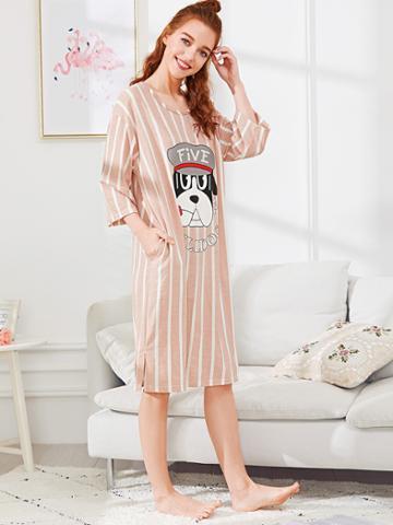Shein Dog Print Striped Dress