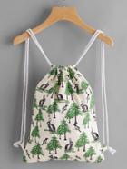 Shein Leaf Print Drawstring Canvas Backpack