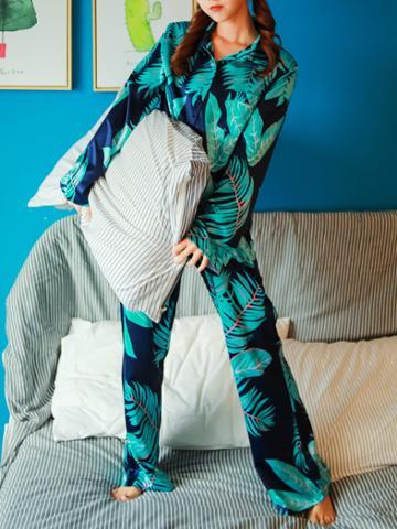 Shein Palm Print Shirt & Pants Pajama Set