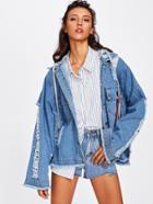 Shein Destroyed Oversized Hooded Denim Jacket