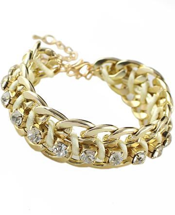 Shein Gold Crystal Chain Bracelet