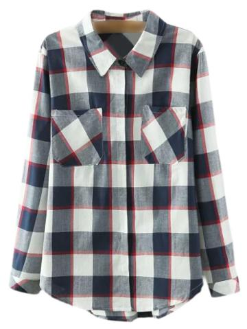 Shein Multicolor Pockets Buttons Front Plaids Blouse