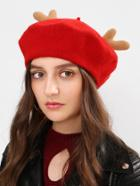 Shein Christmas Antlers Beret Cap