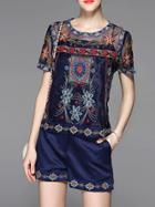 Shein Navy Vintage Embroidered Top With Shorts