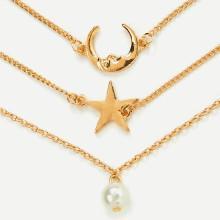 Shein Moon & Star Design Link Bracelet Set