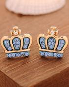 Shein Blue Diamond Gold Crown Earrings