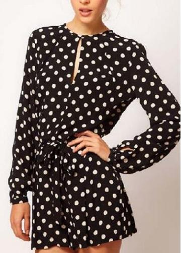 Rosewe Cute Polka Dot Print Long Sleeve Rompers For Lady